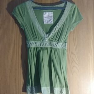 Hollister Light (army) Green and White v neck